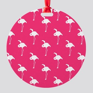 White Flamingo on Neon Hot Pink Ornament