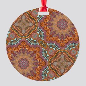 turquoise orange bohemian moroccan  Round Ornament