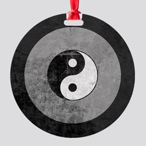 Distressed Yin Yang Symbol Round Ornament