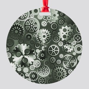 Steel gears Round Ornament