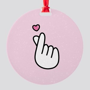 Finger Heart Sign Round Ornament