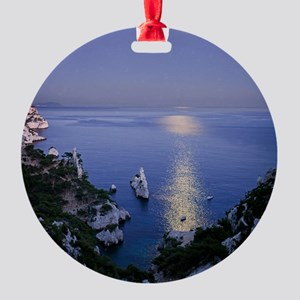 Night view over calanque of Sugiton Round Ornament