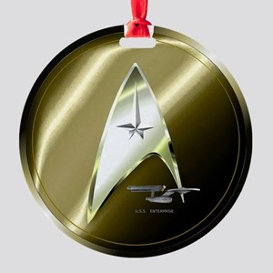 Bronze Star Trek Round Ornament
