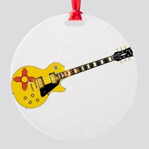 New Mexico State Flag Guitar Round Ornament