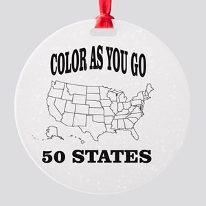 color as you go 50 states help Round Ornament