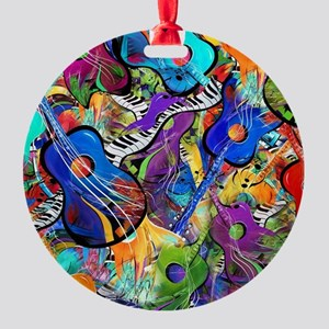 Colorful Painted Guitars Curvy Pian Round Ornament