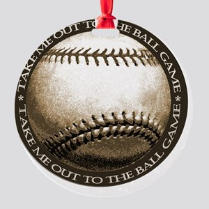 take me out to the ball game Round Ornament