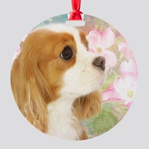 Spring Dogwood Cavalier King Charle Round Ornament