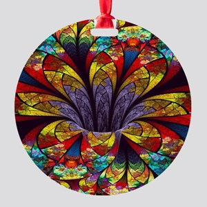 Fractal Stained Glass Bloom Round Ornament