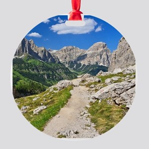 Dolomiti - footpath in Val Badia Round Ornament