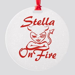 Stella On Fire Round Ornament