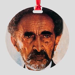 Haile Selassie Aluminum Round Ornaments - CafePress
