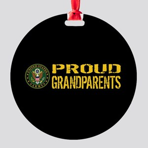 U.S. Army: Proud Grandparents (Blac Round Ornament