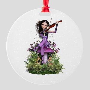 Amethyst Fairy ~ Summer Melody Round Ornament