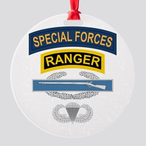 SF Ranger CIB Airborne Round Ornament