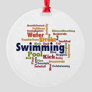 Swimming Word Cloud Ornament