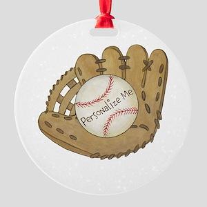 Custom Baseball Round Ornament