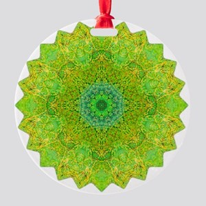 Green Yellow Earth Mandala Shirt Round Ornament