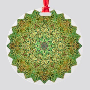 Green Gold Heart Chakra Mandala Yog Round Ornament