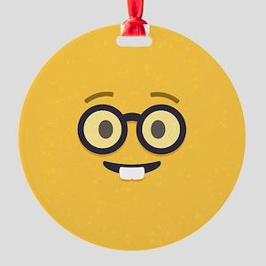 Nerdy Emoji Face Ornament
