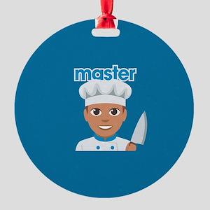 Emoji Master Chef Round Ornament