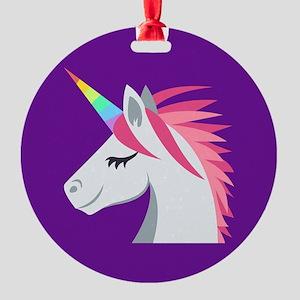 Unicorn Emoji Round Ornament