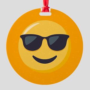 Sunglasses Emoji Round Ornament