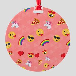 Emoji Pink Pattern Round Ornament