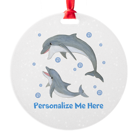 Personalized Dolphin Round Ornament