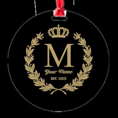 Monogrammed Wreath & Crown Round Ornament