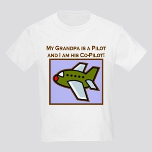 Grandpa's Co-Pilot Airplane Kids Light T-Shirt