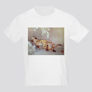 Hokusai Old Tiger In The Snow Kids Light T-Shirt