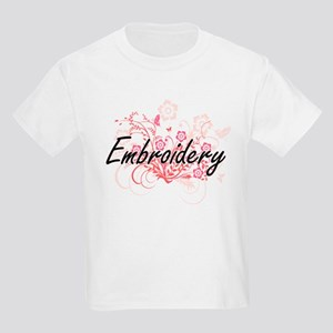 Embroidery Artistic Design with Flowers T-Shirt