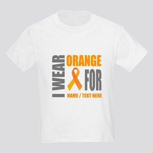 45bd157687 Orange Awareness Ribbon Customi Kids Light T-Shirt