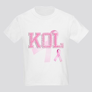 KOL initials, Pink Ribbon, Kids Light T-Shirt