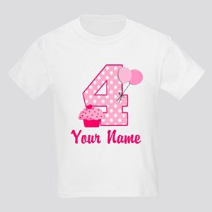 4th Birthday Pink Cupcake Kids Light T Shirt