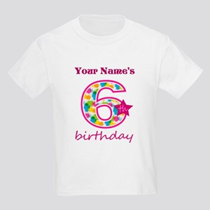 6th Birthday Splat - Personaliz Kids Light T-Shirt