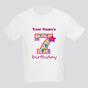 151b2e7f 7th Birthday Splat - Personaliz Kids Light T-Shirt