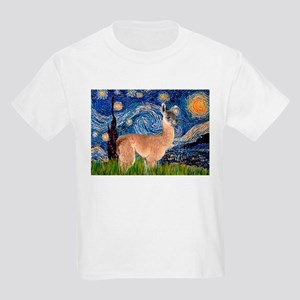 Starry Night Llama Kids Light T-Shirt