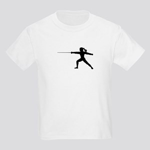 Girl Fencer Lunging Kids Light T-Shirt