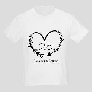 Custom Anniversary Doodle Heart Kids Light T-Shirt