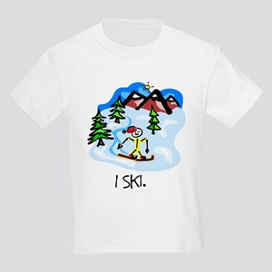 I Ski Stick Figure Kids T-Shirt