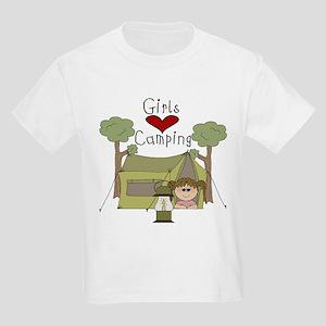 Girls Love Camping Kids Light T-Shirt