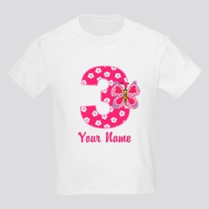 3rd Birthday Butterfly Kids Light T-Shirt