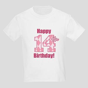 Happy 14th Birthday - Pink Argyle T-Shirt
