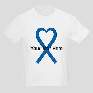 Personalized Blue Ribbon Heart Kids Light T-Shirt