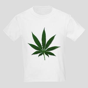 Marijuana Pot Leaf (Front) Kids T-Shirt