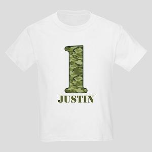 Green Camo 1st Birthday Kids Light T-Shirt