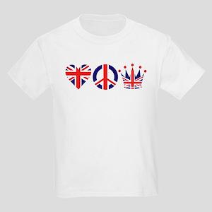 Heart, Peace, Crown - Britiain! Kids Light T-Shirt