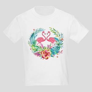Colorful Tropical Wreath & Flamingos T-Shirt